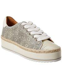 Joie Dabina Lizard-skin Embossed Leather Sneaker - White