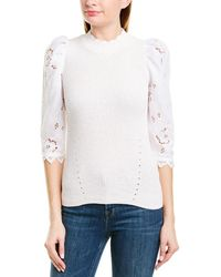 Rebecca Taylor - Eyelet Sleeve Linen-trim Pullover - Lyst