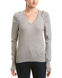 White + Warren Wool & Cashmere-blend Pleat Sleeve Pullover - Gray
