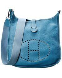 Hermès Blue Clemence Leather Evelyne Ii Gm