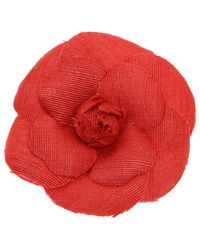 Chanel Gold-tone & Red Fabric Camellia Brooch