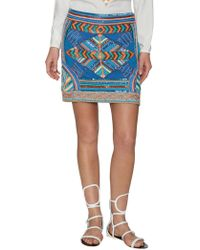 Pia Pauro - Embroidered Mini Skirt - Lyst