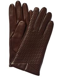 Portolano Embroidered Wool & Cashmere-lined Leather Gloves - Brown