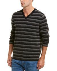 Vince Striped Cashmere V-neck Jumper - Gray