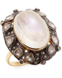 Jyoti New York - 0.82 Tcw Diamond And Moonstone Oval Ring - Lyst