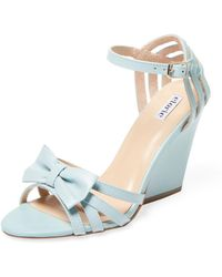 Elorie Leather Bow Wedge Sandal - Blue