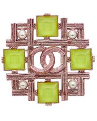 Chanel Pink-tone Cc Yellow Colour Stone Brooch
