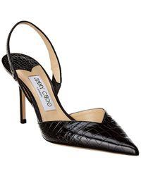 Jimmy Choo Thandi Croc-embossed Leather Slingback Court Shoes - Black