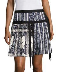 Cinq À Sept Amory Pleated Scarf-print Silk Skirt - Blue