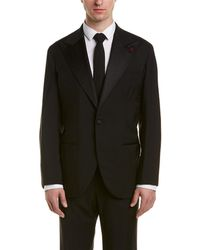 Isaia Vincent Wool & Mohair-blend Tuxedo With Pleated Pant - Black