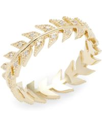 Mizuki | 14k Gold Feather Eternity Band Ring | Lyst
