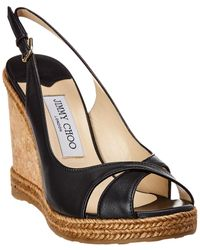 Jimmy Choo Amely 105 Leather Wedge Sandal - Black