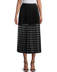 MSGM Pleated Midi Skirt - Black