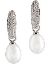 Splendid - Rhodium Over Silver 7-8mm Pearl Earrings - Lyst