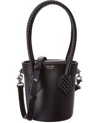 Salar Celia Dots Leather Bucket Bag - Black