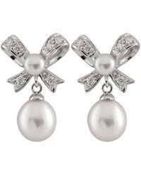 Splendid Plated 4-9mm Freshwater Pearl Bow Shaped Drop Earrings - Metallic