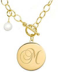 Jane Basch 22k Over Silver 6-8mm Pearl A-z Initial Toggle Necklace - Metallic