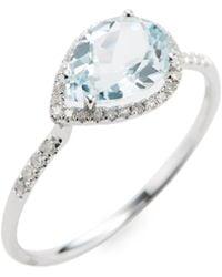 Meira T - White Gold & Topaz Teardrop Ring - Lyst