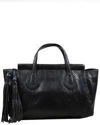 Gucci Black Snakeskin Leather Lady Tassel Tote