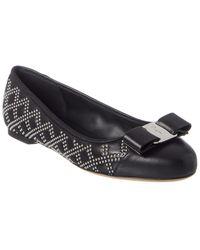 Ferragamo Varina Studded Leather Ballet Flat - Black