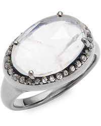 Bavna - Moonstone, Diamond & Sterling Silver Ring - Lyst