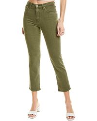AG Jeans Isabelle 1 Year Sulfur Desert High-rise Straight Crop Jean - Green