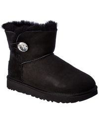 UGG Mini Bailey Button Bling Suede Bootie - Black