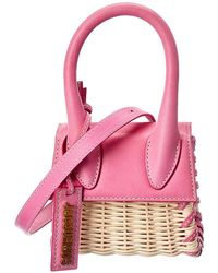 Jacquemus Le Chiquito Mini Straw & Leather Clutch - Pink