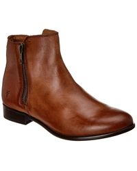 Frye Carly Double Zip Leather Bootie - Brown