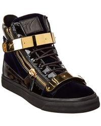 94f187bf9a2 Giuseppe Zanotti - Velvet   Leather Sneaker - Lyst