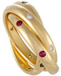 Cartier Vintage Trinity 18k Yellow Gold With Diamond, Ruby & Sapphire Rolling Band Ring - Metallic