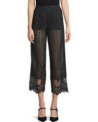 Anna Sui Dot Mesh Cropped Trouser - Black