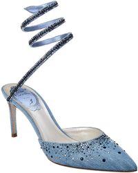 Rene Caovilla Embroidered Denim Pump - Blue