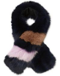 Annabelle New York - Striped Short Fox Fur Scarf - Lyst