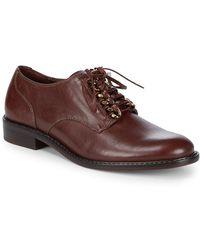 Schutz Xander Stacked Heel Leather Derbys - Brown