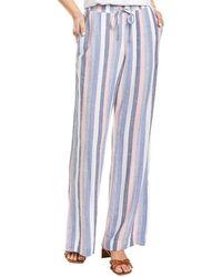 Bella Dahl Side Slit Wide Leg Linen-blend Pant - Pink