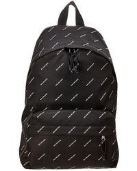 Balenciaga - Black Diagonal Logo Print Backpack - Lyst
