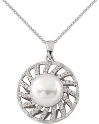 Splendid Rhodium Plated 9-10mm Freshwater Pearl & Cz Necklace - Metallic