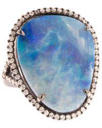 Meira T Silver 10.34 Ct. Tw. Diamond & Opal Ring - Blue