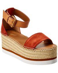 See By Chloé Suede Wedge Sandal - Orange