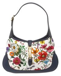 Gucci Limited Edition Flora Fabric & Blue Leather Jackie Medium Hobo Bag