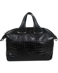 Givenchy Black Leather & Embossed Patent Leather Nightingale Bag
