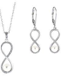 Splendid Silver 7.5-8mm Freshwater Pearl & Cz Drop Earrings & Necklace Set - Metallic