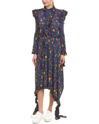Vetements Ruffle Midi Dress - Blue