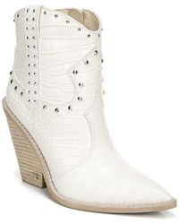 Sam Edelman Studded Croc-effect Leather Ankle Boots White