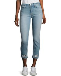 Hudson Jeans Hudson Savy Distressed Cropped Straight-leg Jeans - Blue