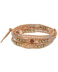 Chan Luu Silver Gemstone Wrap Bracelet - Metallic