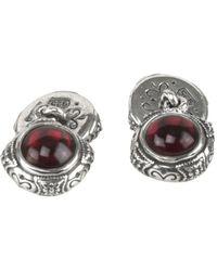 Konstantino Aeolus Silver Garnet Cufflinks - Metallic