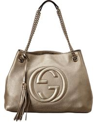 Gucci Gold Leather Chain Soho Bag - Metallic