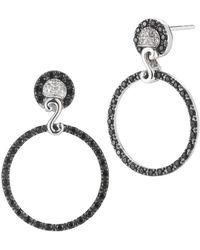 Alor - Delatori By Silver Rhodium Black Spinel & Crystal Drop Earrings - Lyst